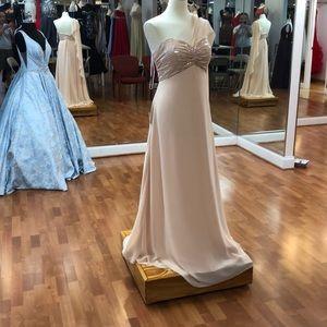 Blush pink bridesmaid dress with shawl